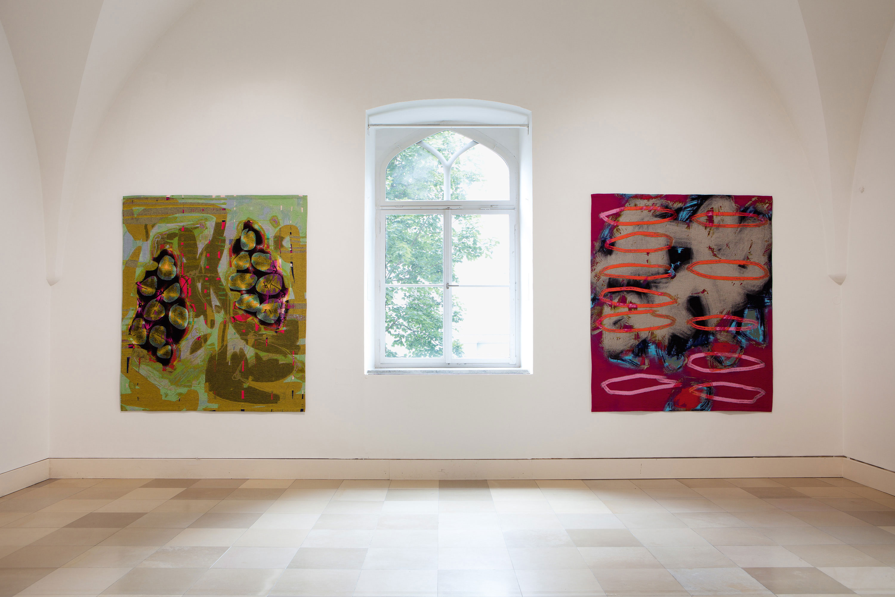 two examples of digital paintings as large format tapestries (2.35x1.94cm)